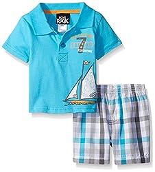 Boys Rock Baby 2 Pc Short Set Sailboat, Turquoise, 24 Months