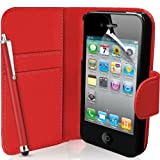Supergets® Apple iPhone 4 / 4S Red Wallet Case Cover, Screen Protector, Touch Screen Stylus And Polishing Cloth
