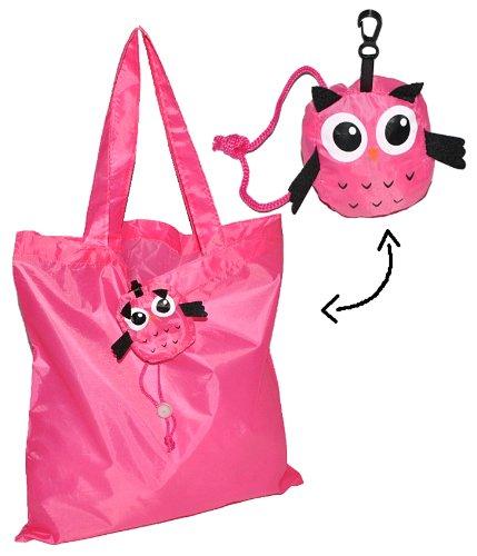Tragetasche / Shopper / Einkaufsbeutel - Eule faltbar - Tasche aus Stoff mit Karabiner - Nylon - Faltshopper Beutel Einkaufstasche Eulen