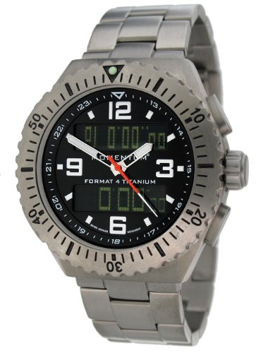 Momentum Format 4 Men's Quartz Watch with Black Dial Analogue - Digital Display and Grey Titanium Bracelet 1M-SP24B0