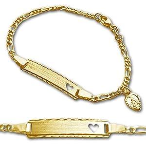 CLEVER SCHMUCK Goldenes Baby ID-Armband Figaro 12/14 cm mit herzförmigen Engel ECHT GOLD 333 und ihrer Gravur