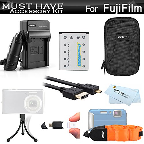Must-Have-Accessory-Kit-For-Fuji-Fujifilm-FinePix-XP60-XP70-XP80-XP90-Waterproof-Digital-Camera-Includes-Extended-Replacement-NP-45A-NP-45s-Battery-AcDc-Charger-Micro-HDMI-Cable-Case-More