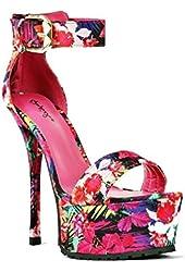 Qupid Pink Floral Open toe Sandal Platform Stiletto Heels