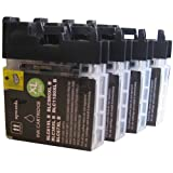 4 Black CiberDirect High Capacity Compatible Ink Cartridges for use with Brother MFC-J615W Printers.