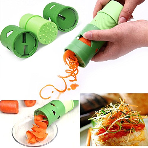 Happy Hours® Popular Multifunction Fruit Vegetable Cucumber Twister Spiral Turning Cutter Slicer Kitchen Tool Garnish Salad Easy Food Processors Raw Low Carb Noodle Maker Spiral Zucchini/Squash/Carrots/Cucumbers/Julienne Strips Veggetti Spaghetti De