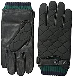 Ted Baker Men's Quilted Nylon and Leather Glove, Black, Small/Medium
