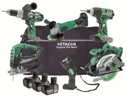 Hitachi KTL618CJ 6 Piece Cordless Tool Kit (18 V, 3 x Li-Ion Batteries  &  Bag)