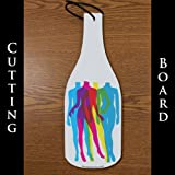 Wine Bottle Shaped Glass Cutting Board – CMYK People (4.5″ X 12″)