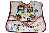 New Red 'My Neighbourhood' water proof feeding bib - baby boy