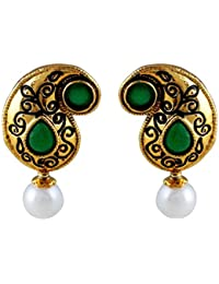 Gehnamart Yellow Gold Plated Imitation Emerald And Pearl Designer Stud Earring