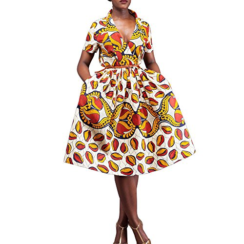 African-Ankara-print-dresses-for-women-short-sleeves-pure-cotton-Overknee