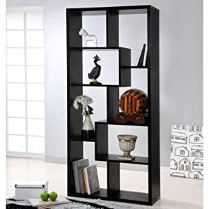 Verena Black Contoured Leveled Display / Bookcase