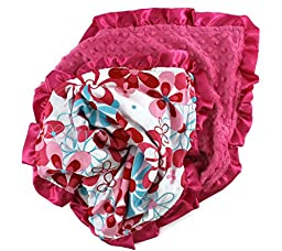 Onyx Arrow Baby Blanket, Red Turquoise Retro Flower Cotton Print, Hot Pink Minky Dot, Satin Ruffle Trim, Mix and Match