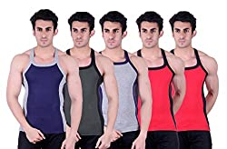 Zimfit Superb Gym Vests - Pack of 5 (BLU_GRN_GRY_RED_RED_95)