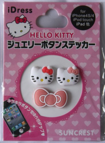 3D Hello Kitty Head 3 Pcs In 1 Sheet Home Button Sticker For Iphone 4G/4S/5 Ipad2 Ipod