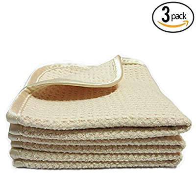 "(3-Pack) **SPECIAL SALE** LUXURY BEAUTY & SPA 11"" x 11"" Premium Suede Microfiber Waffle-Weave Exfoliating Facial Towels with Silky Satin Border - THE RAG COMPANY"