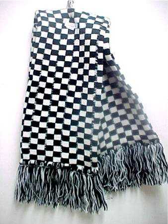 Black/White Checkered Knitted Winter Scarf 70