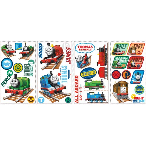 Roommates Rmk1831Scs Thomas The Tank Engine Peel And Stick Wall Decals, 33 Count - 1