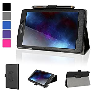 Evecase Lenovo Tab 2 A7-10 Case, SlimBook Leather Folio Stand Case with Magnetic Closure for Lenovo Tab 2 A7-10 / A7-10F 7-inch Tablet - Black