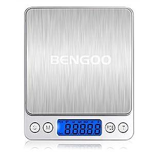 Bengoo 電子秤 デジタルスケール 皿はかり クッキングスケール 精密 計量秤 超小型 研究用 キッチン用 0.1 g単位/3000gまで計量可能 風袋機能 オートオフ機能