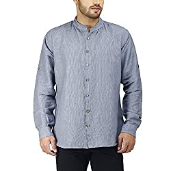 PRAKUM Men's Cotton Slim Fit Shirt (MD-264, Blue, L )