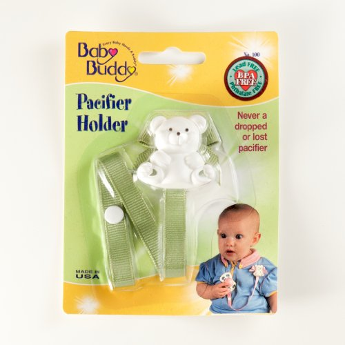 Baby Buddy Bear Pacifier Holder, Sage front-1011381