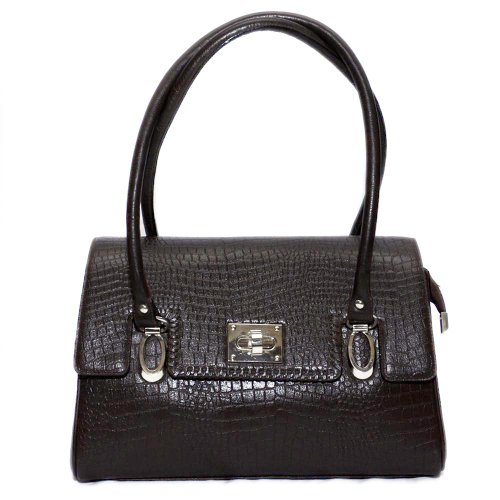 Bag Jack  The Lyrae classic style brown color croco print women leather handbag.