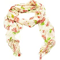 Wrapables Romantic Red Rose Print Scarf