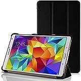 GALAXY Tab S 8.4 スマートカバーケース ( docomo SC-03G / サムスン ギャラクシータブ エス 8.4 Android タブレット 対応 ) フラップマグネット内蔵型 / スリム軽量 / 三つ折りスタンド機能  / PUレザー&PCハード素材 Smart Cover Case【High quality Black (黒)】