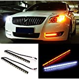 iJDMTOY 40-SMD White/Amber Switchback LED Daytime Running Lamps For DRL Driving Light & Turn Signal Light