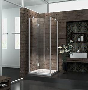 Duschkabine 8 mm Duschabtrennung Dusche Echt Glas 100 x 100 x 195 cm NOVA ohne Duschtasse  Kundenbewertung und weitere Informationen