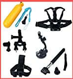 BiG DIGITAL Mounting kit for GoPro Kit Includes Extendable Telescopic Handheld Pole Arm Monopod Mount, Suction Cup Mount, Chest Mount Harness + Handlebar/Seatpost Mount + Head Strap Camera Mount + Bobber-floating hand grip Compatible With GoPro HERO4, HERO3+, Hero3, HERO2 Black, Silver, White, Outdoor Edition (Accept Hero5 Wrist Camera)