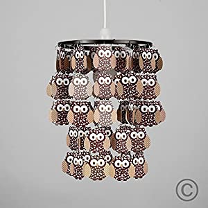 Modern Brown Feathered Cartoon Owl Droplet Ceiling Pendant Children's Bedroom / Nursery Cot Mobile Light Shade by MiniSun