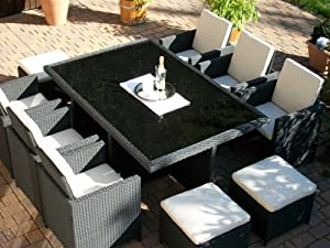 polyrattan rattan geflecht garten sitzgruppe toscana xl in schwarz tisch 6 sessel 3. Black Bedroom Furniture Sets. Home Design Ideas