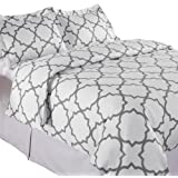 Echelon Home Quatrefoil Duvet Cover Set, Full/Queen, Zinc