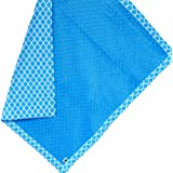 "Cozy Wozy Quatrefoil Print Cotton And Minky Baby Blanket With Mitered Corners, Azure Blue, 32"" X 37"""