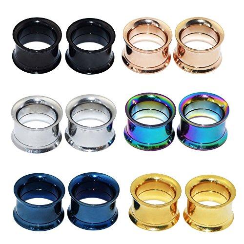 DMin-Jewelry-12er-Set-6-Farben-Schraub-Hollow-Edelstahl-Tunnel-Plugs-1212mm