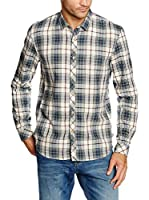 TOM TAILOR Denim Camisa Casual (Blanco / Azul / Rojo)