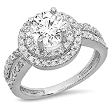 buy 14K White Gold Round Moissanite & White Diamond Ladies Halo Style Bridal Engagement Ring (Size 5.5)