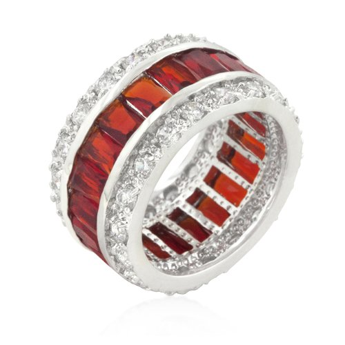 White Gold Rhodium Bonded Fashion Eternity Ring with Orange and Clear Cubic Zirconia Accents
