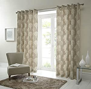 Forest Trees Cream Beige 90x90 Ring Top Lined Curtains #seertdnaldoow *cur* by Curtains