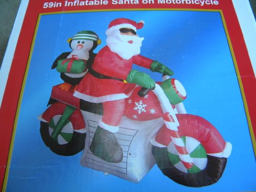 59in Christmas Inflatable Santa Penguin on Motorcycle