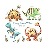 dinosaur canvas,baby boy gift,personalised christening gift,largeby Tigerlilyprints.co.uk