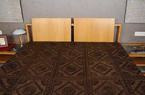 Imagen 4 de Tamaño de rosca doble bordado y trabajo Mirror Brown Colcha de algodón de tamaño 86 x 102 pulgadas