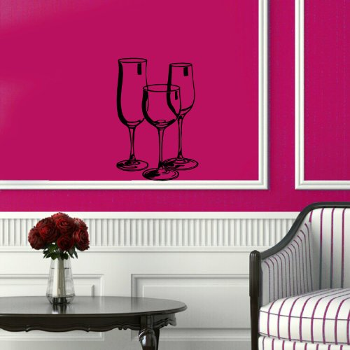 Wall Vinyl Decal Sticker Art Design Three Wine Glasses Cafe Kitchen Room Nice Picture Decor Hall Wall Chu1103 front-226354