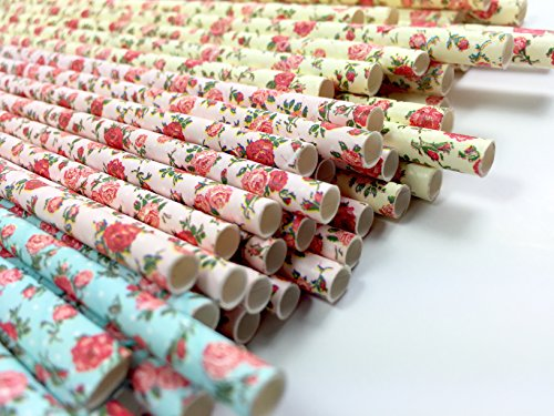 Floral Paper Straws (75 Pack) - 100% Biodegradable, Excellent Quality, Trendy & Beautiful Paper Straws for Birthdays, Weddings, Baby Showers, Bachelorettes, Celebrations, Parties, and More! By JPACO Beautiful Carnival Glass