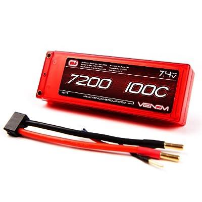 Venom 100C 2S 7200mAh 7.4V LiPo Battery Hard Case ROAR Approved with Universal Plug (EC3/Deans/Traxxas/Tamiya)