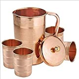 Indian Pure Copper Jug With 4 Tumbler Glass Set For Ayurvedic Healing
