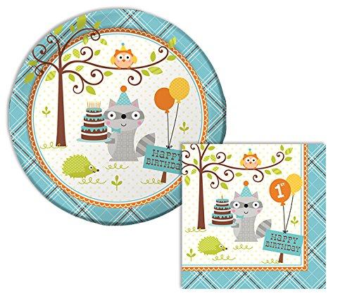 Happi Woodland Boy Happy 1st Birthday Lunch Napkins & Dinner Plates Party Kit for 8