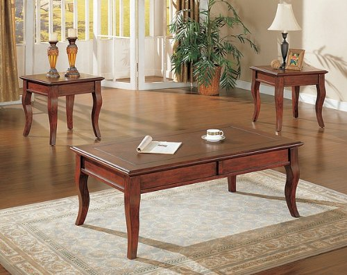 Contemporary Cherry Finish Coffee 2 End Table Set Cheap Best Price